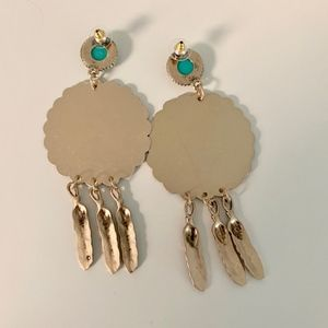 Jewelry - NWT Feather Dangle Statement Earrings Boho Tribal